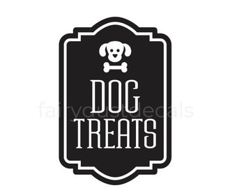 10% off sale Dog Treats Container Decal, Sticker for Dog Treats Canister, Dog Lover Home Decor