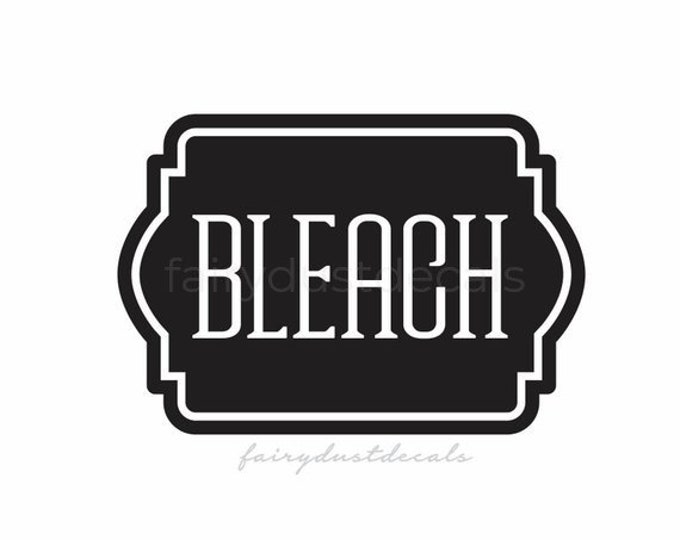 Bleach Label, Laundry Vinyl Decal, chlorine bleach container sticker