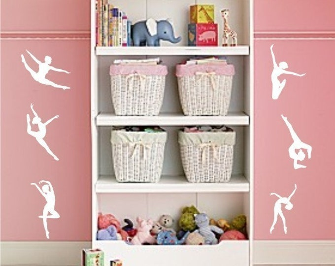 Gymnasts Dancers wall decal - set of 6 vinyl wall decals - teen girl wall decals - Gymnastics - dancer wall decal - dancer wall art - dance