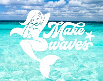 Mermaid Car Decal, Make Waves, mermaid vinyl decal, summer beach decor, free shipping