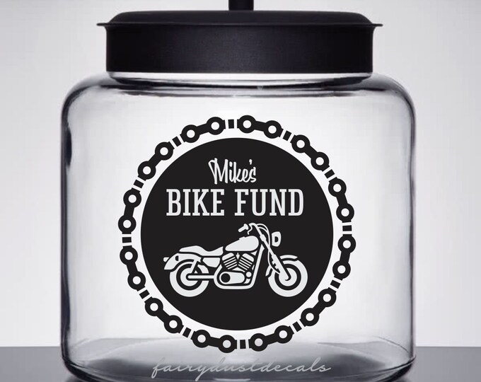 Motorcycle Fund Jar Decal, save money for bike, personalized canister label, jar not included