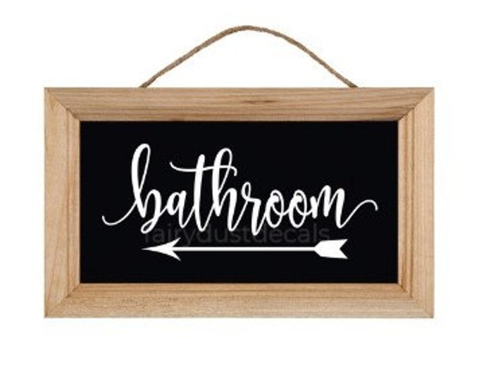Bathroom decal with arrow, make your own sign for wedding or event, handwritten script style vinyl letters, bathroom vinyl decal