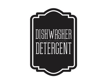 10% off sale Dishwasher Detergent Label for glass canister, dishwasher soap powder vinyl decal, farmhouse kitchen decor, cleaning supply lab
