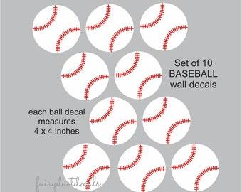 Baseball wall decals, set of 10 vinyl baseball stickers