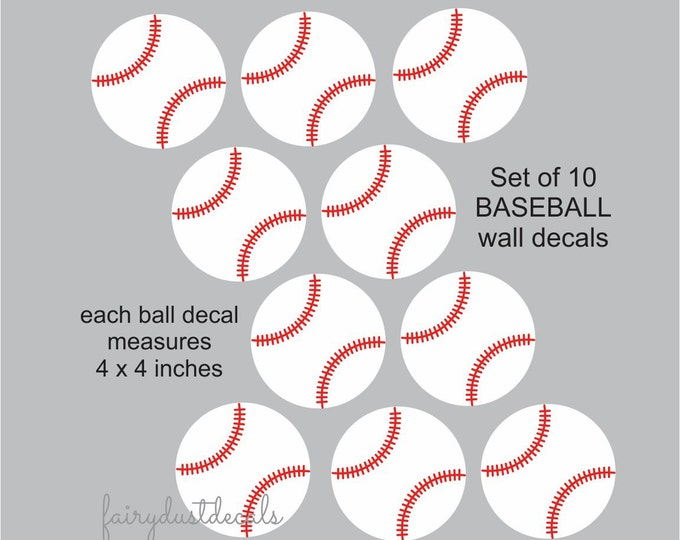 Baseball wall decals, set of 10 vinyl baseball stickers