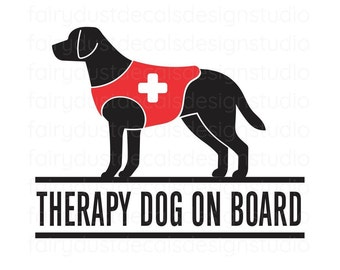 Therapy Dog On Board, Car Window Decal, free shipping