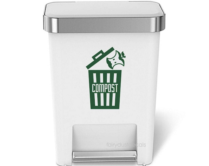Compost Decal Reduce Reuse Recycle Organic Food Compost Waste Kitchen Trash Barrel Garbage Sticker Vinyl Decal Organize Eco Environmental