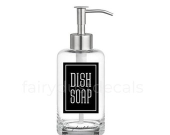 10% off sale Dish Soap Label for dispenser bottle, square design vinyl decal