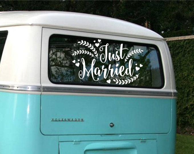 Just Married Wedding Decal - Car Window Vinyl Sticker - Honeymoon Sign Decal - Just Married Vinyl Letters - Rustic Farmhouse Style Wedding