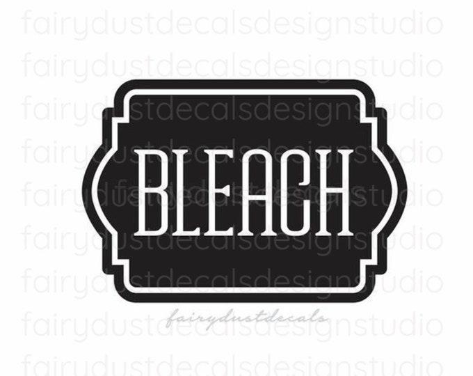 Bleach Label, Laundry Vinyl Decal, chlorine bleach container sticker