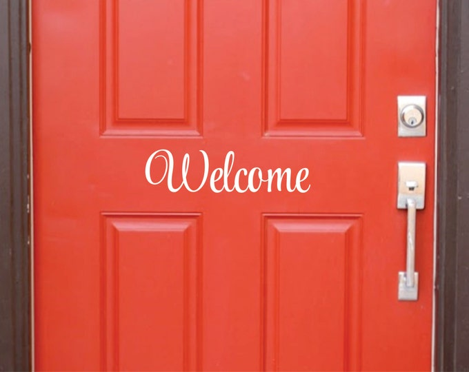 Welcome Decal for front door, vinyl letters
