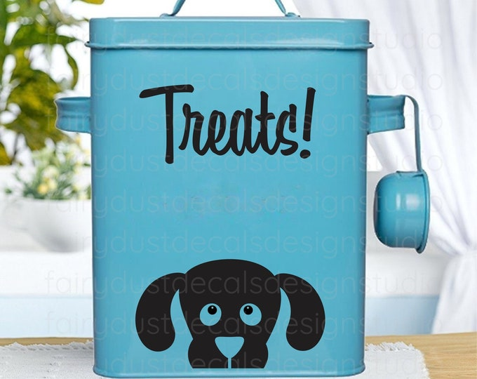 Dog Treats Container Vinyl Decal, label for dog treat holder, dog lover decor