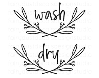 Laundry Room Decals, wash and dry set, farmhouse rustic leaf branch, original hand drawn design