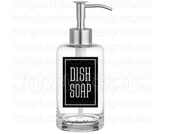 Dish Soap Label for dispenser bottle, square design vinyl decal, glass bottle sticker