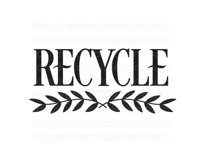 Recycle Decal, recycling tote bin label, Recycle Vinyl Decal, Recycle Sticker for Trash Can
