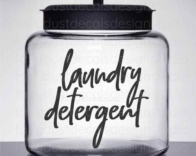 Laundry Detergent Decal, Laundry Room Canister Sticker, farmhouse style, vinyl container label, home laundry organization