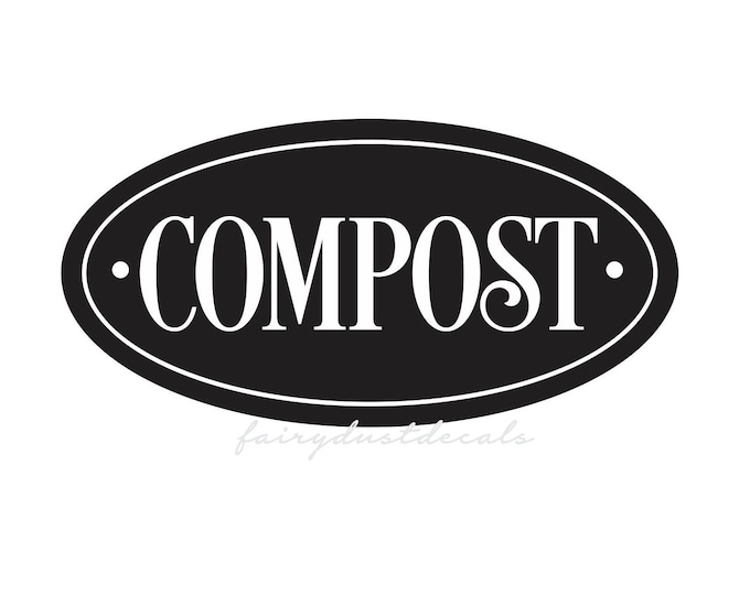 Compost Decal, Trash Bin Label, Vinyl Sticker for kitchen compost bucket, Recycling Compost Label for Garbage Can, Compost Sticker