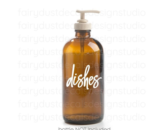 Dishes Decal, glass apothecary bottle label, dish soap vinyl decal, handwritten script letter, original design
