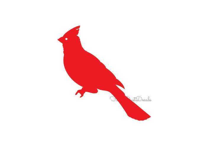 Cardinal decal, vinyl bird sticker, red cardinal decal, cardinal sticker, bird decal, wall decor, decal, red bird sticker, bird wall art