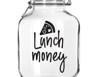 Lunch Money Decal, back to school, canister jar label, save money, taco tuesday, pizza friday, dorm decor