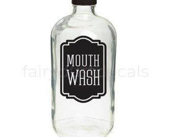 Mouth Wash bottle label, vinyl decal, farmhouse bathroom decor, mouth wash vinyl decal for bathroom vanity