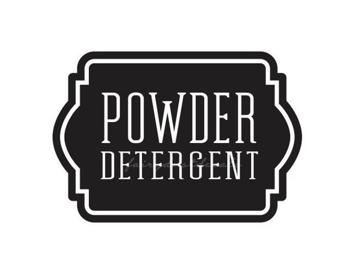 Laundry Powder Detergent Canister Sticker, Soap Powder Laundry Decal, Label for Laundry Room Conatiner, Vinyl Decal
