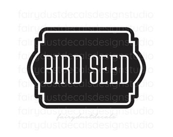 Bird Seed Decal, wild bird seed canister sticker, container label