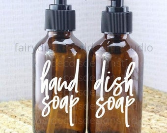 Hand Soap and Dish Soap dispenser bottle decals, set of 2 vinyl decals, original design, free shipping