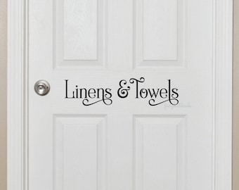 Linens and Towels Bathroom Door Decal