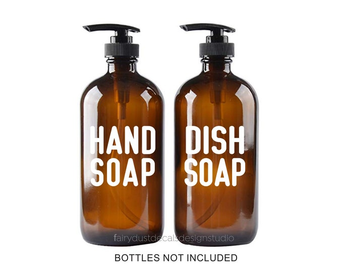 Hand Soap Dish Soap Vinyl Decal Bottle Labels for apothecary style glass soap dispenser jars, Modern Farmhouse Kitchen Bath Decor