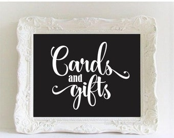 10% off sale Wedding Gift Table Sign Cards and Gifts Decal Chalkboard Sticker DIY Card Box Decal Wedding Decor Rustic Farmhouse Script Style