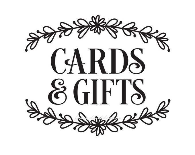 Cards and Gifts Decal for Wedding Shower Party Event, Cards vinyl decal, cards and gifts sign sticker, chalkboard sign decal