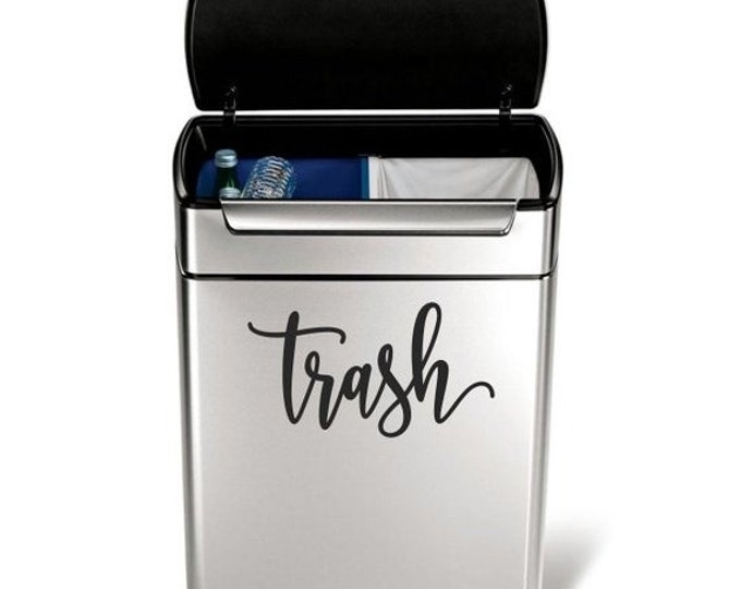 10% off sale Trash Vinyl Decal in a handwritten script style letter, garbage can sticker, trash label
