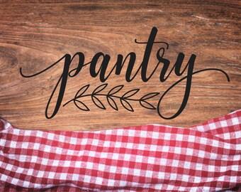 Kitchen pantry door wall vinyl decal, handwritten script style letters