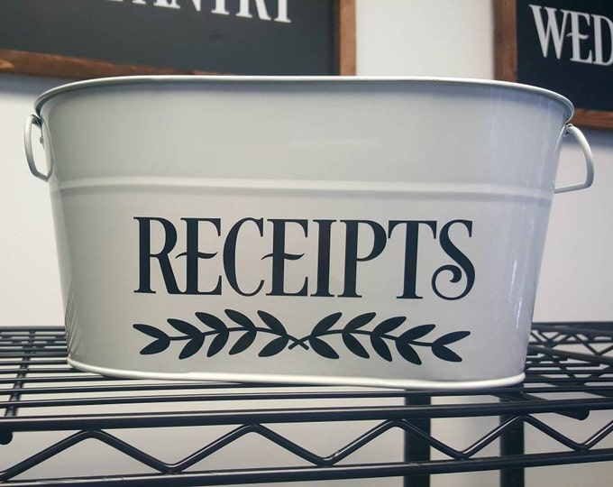 Receipts Decal. Home office organization, Command Center, Receipts Vinyl Decal, Receipts Sticker, Vinyl Label for Receipts Box