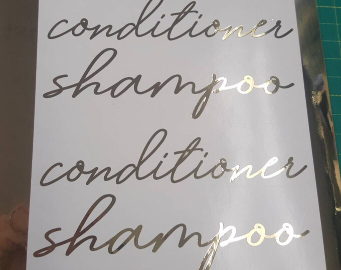 Shampoo Conditioner Body Wash Lotion Vinyl Decal Label Set, handwritten style letter, gold chrome silver chrome or rose gold