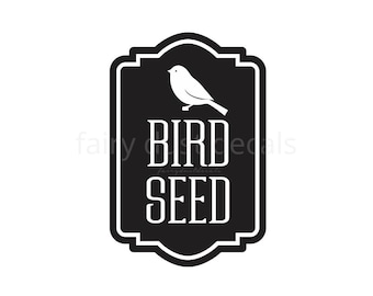 Bird Seed Container Decal, Sticker for Bird Seed Canister