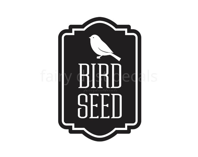 10% off SALE Bird Seed Canister Sticker, wild bird seed label