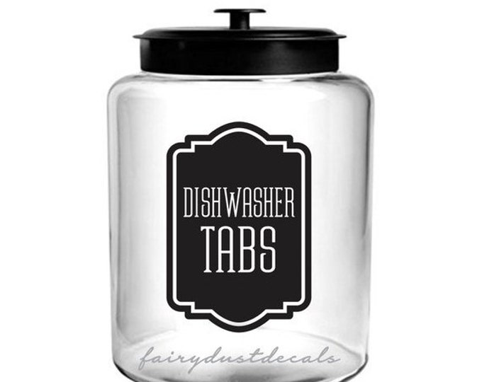 10% off sale Dishwasher Tabs Label for glass canister, dishwasher detergent soap tabs vinyl decal, farmhouse kitchen decor, cleaning supply
