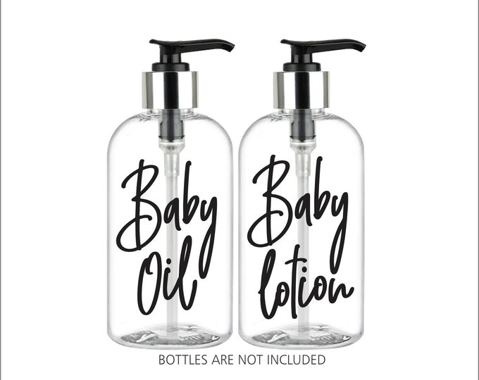 Baby Oil and Baby Lotion dispenser bottle decals, set of 2 labels