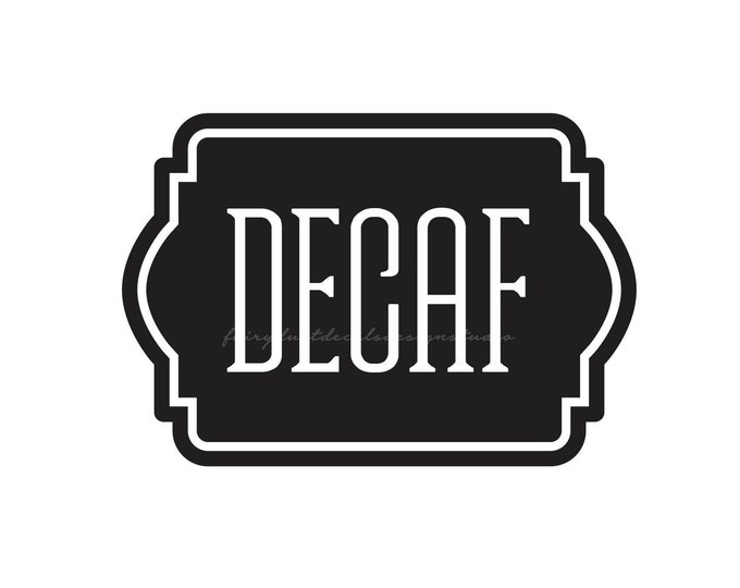 Decaf Coffee Label for Kitchen Canister Set, Decaffinated Coffee Vinyl Decal Sticker, Pantry Organization, Coffee Station Label