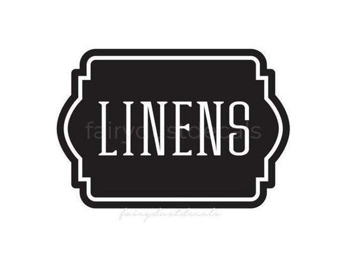 Linen Closet Bathroom Door Decal, linens and towels, bathroom and laundry organization, vinyl labels for home decor