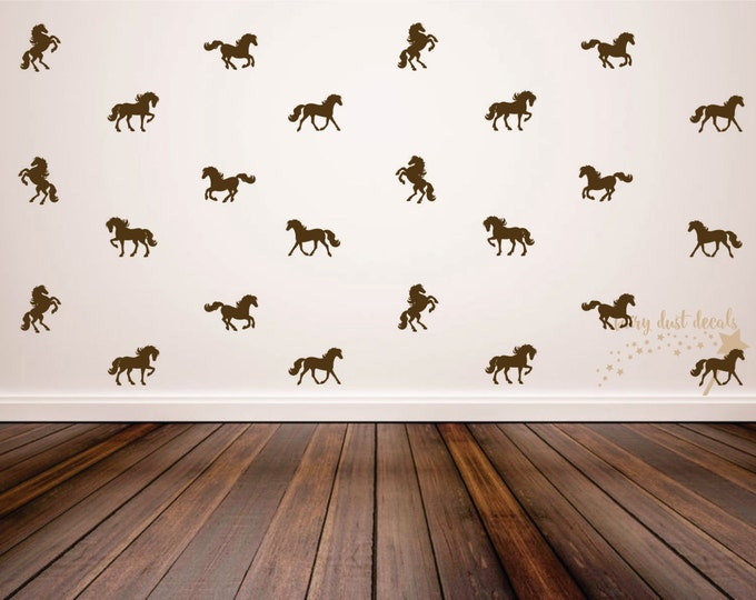 Horse wall decal, set of 24 vinyl horse decals, horse stallion farm barn cowboy western vinyl wall decals, vinyl horse wall decals, horses