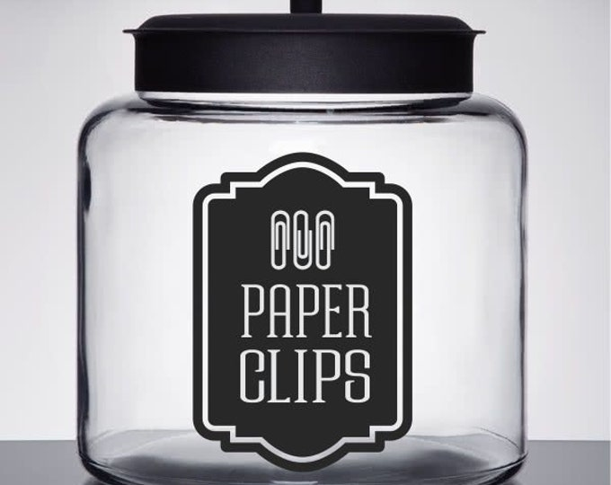 Paper Clips Label, vinyl decal for paper clip holder, office organization, desk accessories, paper clip holder decal