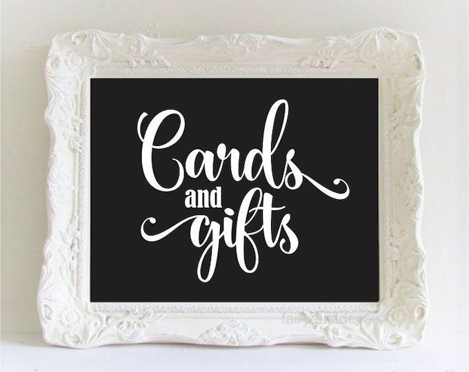 Wedding Gift Table Sign Cards and Gifts Decal Chalkboard Sticker DIY Card Box Decal Wedding Decor Rustic Farmhouse Script Style Vinyl Letter