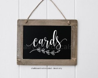 Cards Decal, Wedding Gift Table, Cards Sticker, Make Your Own Sign, Rustic Farmhouse, Handwritten Script Letters, Sign Decal, Chalkboard