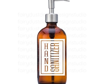 Hand Sanitizer Label for dispenser bottle, square design vinyl decal