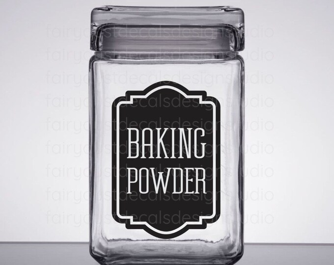 Baking Powder Canister Label, baking powder vinyl decal, kitchen pantry organization, container vinyl decal, cooking and baking storage