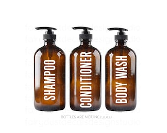 Shampoo Conditioner Body Wash Decal Set, apothecary style bottle labels, farmhouse bathroom, body product vinyl decals