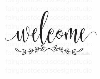 Welcome decal, handwritten script style letters, front door sign sticker
